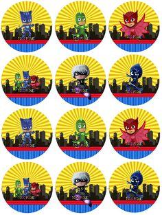 Pj Masks Printable, Party Printables, Pj Max, Pj Mask Cupcakes, Pjmask Party, Fete Emma, Festa Pj Masks, Character Cupcakes, Homemade Birthday
