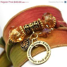 ON SALE Autumn Leaves Silk Wrap Yoga Bracelet by anjalicreations, $34.00