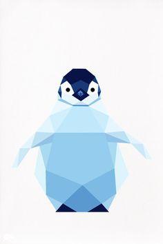 Illustration géométrique du pingouin le manchot par tinykiwiprints