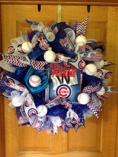 Chicago cubs baseball deco mesh wreath