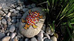 Gartendekoration Stein Schildkröte rot Mosaik von Meine kleine kunterbunte Welt Mosaikdesign, Wohndeko, Kinderbilder auf DaWanda.com
