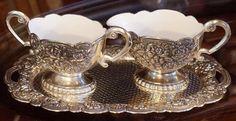 Vintage Sugar & Cream Set Victorian Design, White Enamel, Sugar Bowl, Tea Party, Silver Plate, Tea Cups, Cream, Tableware, Vintage