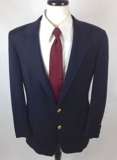 Polo Ralph Lauren Blazer Mens Navy Blue Wool Gold Buttons Sport Coat Jacket 40 R #RalphLauren #TwoButton