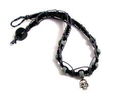 Skull Hemp Choker - Black & Grey, Lacy Knot. $17.00, via Etsy.