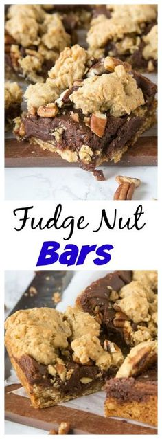 Fudge Nut Bars - and oatmeal cookie base topped with chocolate fudge, lots of nuts, and more oatmeal cookie! Gooey and so good!