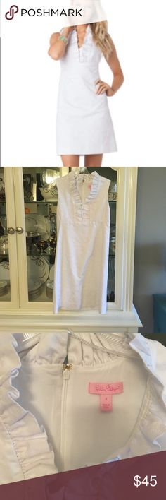Lilly Pulitzer Adaline Dress White, ADORABLE heart print textured fabric. Ruffle around neckline. EUC. No holes, discoloration, damage. Extremely good quality and so cute! Freshly dry cleaned and ready to wear! Price firm (or open to REASONABLE offers). Lilly Pulitzer Dresses