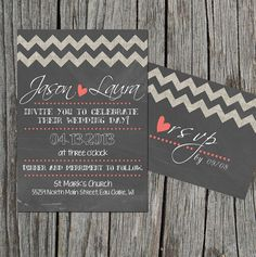 DIY Printable  Wedding Invitation Set with RSVP by themunch, $35.00    This is very cute as well!! Love the chevron stripes and chalkboard