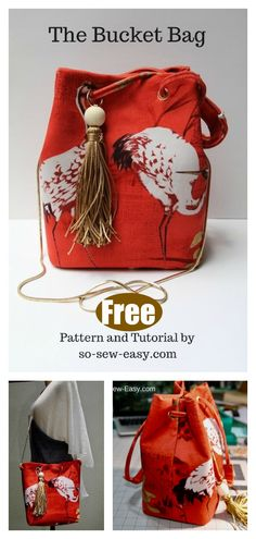 This Bucket Bag Free Sewing Pattern will be very fun and challengeable for you to sew. with a wide bottom, so you can drop whatever your are taking in bag. Purse Patterns Free, Bag Pattern Free, Bag Patterns To Sew, Tote Pattern, Knitted Bags, Purses And Bags, Small Purses, Coin Purses, Free Sewing