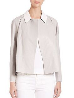 Lafayette 148 New York Callan Leather Jacket - Sterling White - Size X