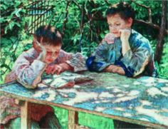 Connoisseurs of books (Knowledge is Power), 1920 - Nikolay Bogdanov-Belsky