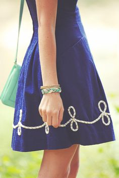tumblr fashion dress summer style skirt jewlery navy braid teal kate ...