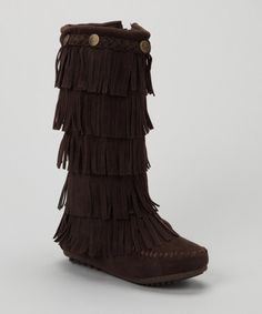 Another great find on #zulily! Brown Tiered Fringe Boot #zulilyfinds