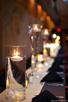 floating candle centerpieces in all size glasses!