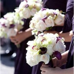 Purple an ivory bouquets
