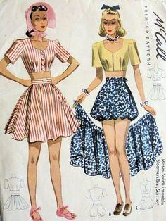1940 Beach Playsuit Pattern Flirty Midriff Top Bra, Wrap Skirt, Bloomer Shorts Pin Up Style McCall 3645 Vintage Sewing Pattern UNCUT Bust 32