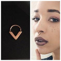 Real Rose Gold Septum Ring | Septum Jewellery | Body Jewellery | Gold Septum | Gold Nose Ring | Bohemian Septum | Septums | 18 gauge Septum