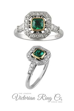 This 1930s style emerald and diamond cluster ring is set with a central emerald with a floating cluster of diamonds. The band is set with further diamonds. The emerald is set in 18ct yellow gold to bring out the warmth of the green colour, while the diamonds and band are in platinum. Buy online or visit us in London UK by appointment. #clusterengagementring #emeraldengagementring #emeraldring #artdecoengagementring #mixedmetalengagementring #1930sjewelry