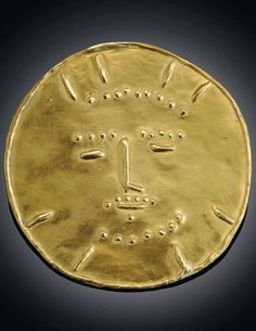 """Dormeur"" by Pablo Picasso's gold jewelry. Medal 22k gold."