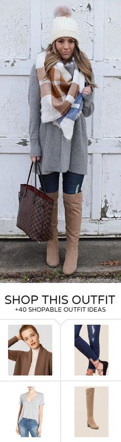 #winter #fashion / White Beanie / Printed Scarf / Grey Coat / Navy Ripped Skinny Jeans / Beige OTK Boots