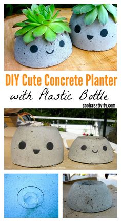 14 Easy DIY Plastic Bottle Projects - Vinyl Bottles are something you'll surely see on your residence, some may be new while some may be old. Plastic Bottle Planter, Plastic Bottle Crafts, Plastic Bottles, Concrete Crafts, Concrete Planters, Diy Planters, Kawaii Diy, Plant Basket, Pots