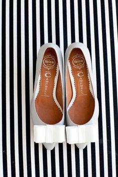preppy. black & white stripes, bow flats