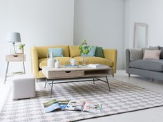 Bring a bright pop of yellow into the sitting room. The perfect way to perk up your palette!