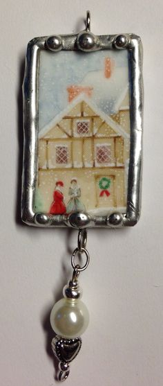 Soldered Pendant, Broken China,  I love this one...so simply Christmas.