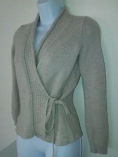 Ann Taylor Womens 100% Merino Wool Wrap Sweater PS Petite Small Beige Solid