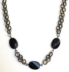 Crazy Eight Ebony Necklace | AllFreeJewelryMaking.com