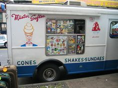 """""""Mr. Softee"""" - founded by William and James Conway in Philadelphia (1956); a treat for children in the Northeast and still one of the largest franchisors of soft ice-cream in the United States.  Also with a music box jingle that is pure heaven to a child's ears! Year-round now (so it seems) - we children of the 60s & 70s waited patiently for summer to bring with it this yummy, frosty delight!"""