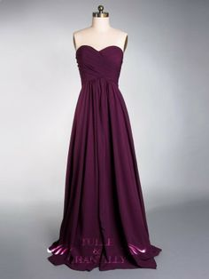 Modest Dark purple Chiffon Cross Ruched Sweetheart Bridesmaid Dress for Fall weddings: possible front runner