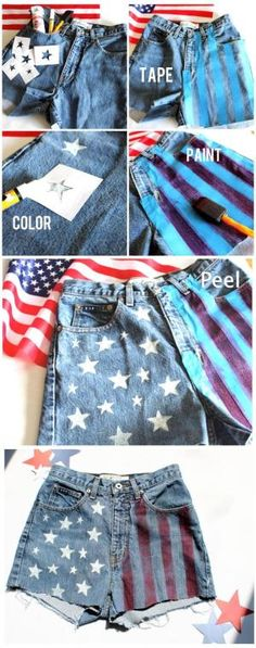 #DIY American #Flag #High-Waisted Shorts by doreen.m