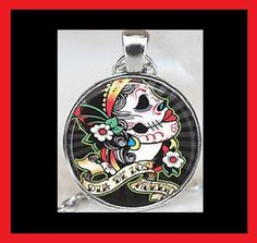 NEW - DAY OF THE DEAD MEXICAN SUGAR SKULL GLASS OPTIC PENDANT NECKLACE #Handmade #Pendant