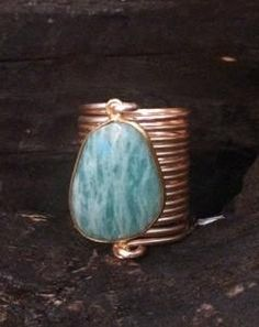 Large Amazonite Wire Wrap Ring