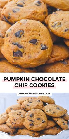 *NEW* pumpkin chocolate chip cookies with butter have a slightly crisp exterior and a soft chewy center to indulge the senses in decadent holiday flavors and aromas. #chocolatechipcookies #pumpkincookies Pumpkin Chocolate Chip Cookies, Easy Desserts, Food, Essen, Meals, Yemek, Eten