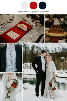 Deep red, navy blue, and white wedding colors for a winter wedding in Canmore, Alberta. To get more winter wedding ideas visit Teller of Tales Photography. Maroon Wedding Colors, Elegant Wedding Colors, Winter Wedding Colors, Wedding Color Schemes, Theatre Wedding, Dusty Rose Wedding, Sunset Wedding, Weddingideas, Navy Blue