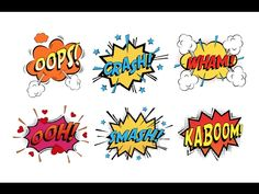Onomatopoeia comicsspeech bubble for emotions and kaboom explosion. Steaming oops and wham sound, heart for ooh and stars for smash and crash cartoon book theme Cartoon Books, Flower Fairies, Book Themes, Speech Therapy, Bowser, Disney Characters, Fictional Characters, Animation, Bubble