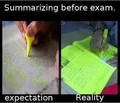 Summarizing before an exam.