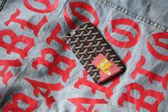 PABLO Jean jacket x Bart Simpson Goyard iPhone case. Come get suburbanized! SuburbanVintageShop.com