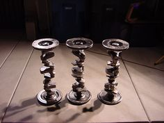 Stools made from recycled car parts