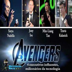 Avengers: 4 executivos influentes e milionários da tecnologia. Todo mundo sonha em ser um  Avengers da tecnologia como o homem de ferro, conhecido também como Tony Stark, mas isso é impossível , no entanto, existem pessoas na vida real que são tão ricas ou até mais do que o vingador Tony Stark. http://motivacaoninja.com.br/avengers-4-executivos-influentes-e-milionarios-da-tecnologia/ #avengers #tecnologia #apple #uber #microsoft #razer