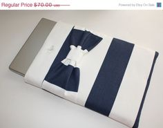 LABOR DAY SALE! Almost $20 off! MacBook Pro, MacBook Air Sleeve / Case - Navy & White Stripe with Bow - Double Padded. AlmquistDesignStudio on Etsy