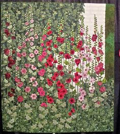 Stokrozen by Ans Schipper-Vermeiren  Such a beautiful quilt! I love Hollyhocks!