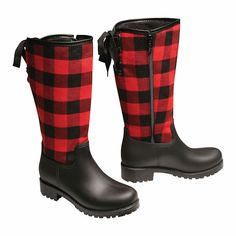 Rainboots - Buffalo Red and Black Plaid Mid-Calf Boots - Size 7 Fall Photo Outfits, Rain Boots, Shoe Boots, Plaid Christmas, Family Christmas, Red And Black Plaid, Tartan Plaid, Fall Plaid, Mid Calf Boots