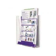 Expositor para la pared fabricado en poliestireno. Soporte ideal para documentos, tarjetas, catálogos, etc. Tamaño de Din A-4 (235 x 240 x 50 mm).