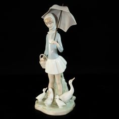 Woman Vintage Umbrella | Lot #41: Lladro Girl With Umbrella & Geese Figurine | Akiba Antiques