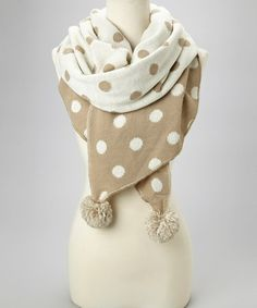 Loving this Oatmeal & Pearl Polka Dot Knit Shawl on #zulily! #zulilyfinds