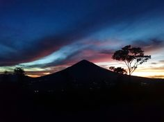 Silhouette of Mount Papandayan, West Java, Indonesia