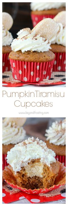 If you love pumpkin, then you have to try these Pumpkin Tiramisu Cupcakes. This spiced pumpkin cupcake is drizzled with espresso and bourbon and filled with a pumpkin mascarpone mousse. These are topped with a mascarpone whipped cream, cocoa powder and a ladyfinger.