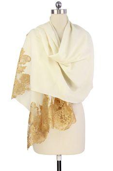 Ivory Gold Lace Royale Wrap